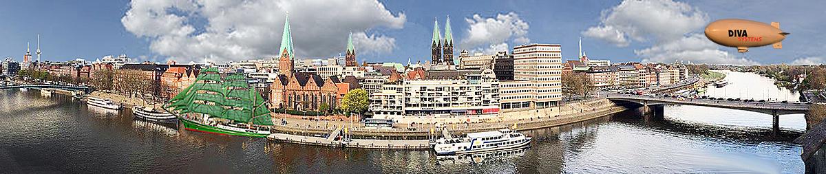 Panorame der Bremer Altstadt mit Weser